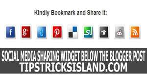 Social Media Sharing Button Widget After Every Blogger Post