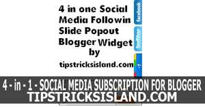 4 in 1 Social Media Following Slide Popout Widget