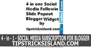 4 in 1 Social Media Following Slide Popout Widget