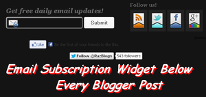 Email Subscription Widget Below Every Blogger Post
