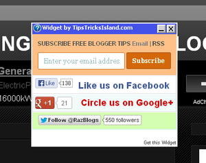 Popup Email Subscription Box with Facebook Twitter Google Plus Blogger Widget